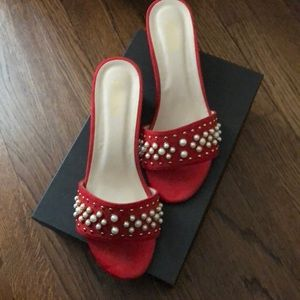 Catherine Malandrino Red Pearl Embellished Mules